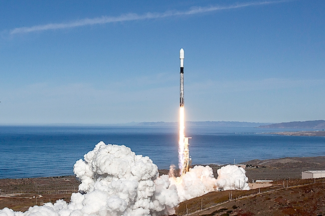 BLAST OFF:A SpaceX Falcon 9 rocket launches from Vandenberg Air Force Base on Dec. 3